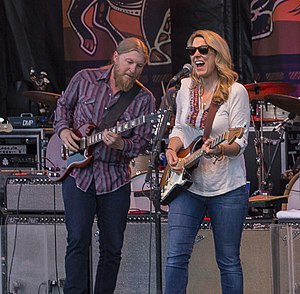 Tedeschi Trucks Band - Trucks (left) and Tedeschi on stage in Shelburne,Vermont, June 2014