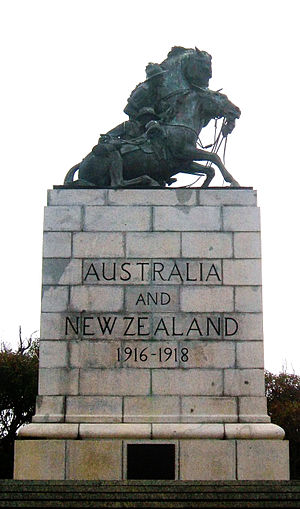The Desert Mounted Corps Memorial at Mount Clarence, Albany, Western Australia. The memorial originally stood in Port Said, Egypt, until it was damaged in anti-British riots, during the Suez Crisis of 1956. Albany is also linked with the corps by the fact that among the Australian and New Zealand Army Corps (ANZAC) were the Light Horsemen, mounted infantry units which left Australia from there in November 1914.