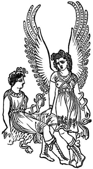 Erinyes - Two Furies, from a nineteenth-century book reproducing an image from an ancient vase.