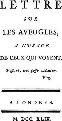 Essay blindness diderot