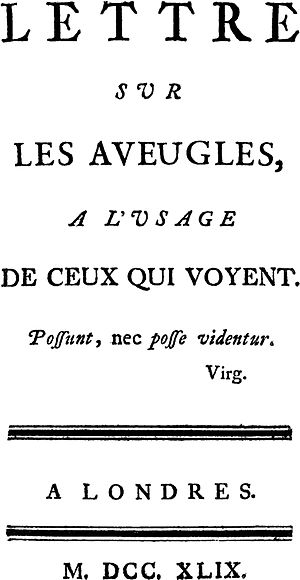 Letter on the Blind - Title Page, First Edition, 1749