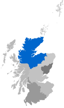 Map showing the Diocese of Moray, Ross & Caithness as a coloured area covering northern Scotland