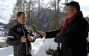 Dmitry Medvedev's interview with NTV at the World Economic Forum 2013 (2013-01-24) 01.jpg