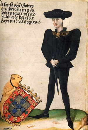 Afonso V of Portugal - Contemporary portrait of Afonso V, as depicted in the Itinerarium of Georg von Ehingen, c. 1470