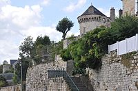 Domfront (France), ramparts and tower.JPG