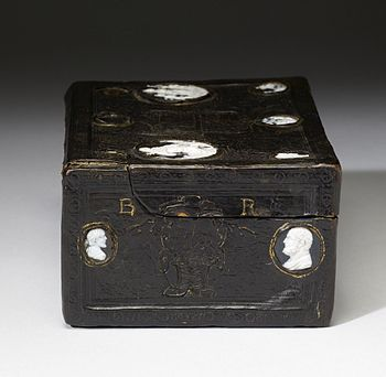 Leather Box for the Pennant of Francis I at the Battle of Pavia The Walters Art Museum. Don Juan Lopez Quixada - Leather Box for the Pennant of Francis I at the Battle of Pavia - Walters 731 - Right Side.jpg