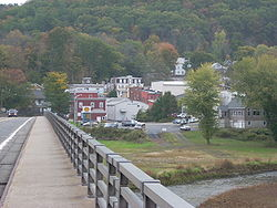 Downtown Callicoon as seen from Pennsylvania across the Delaware River.