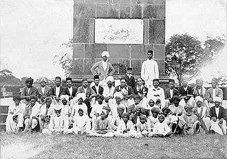 Battle of Koregaon - B. R. Ambedkar and his followers at the Koregaon victory pillar in 1927