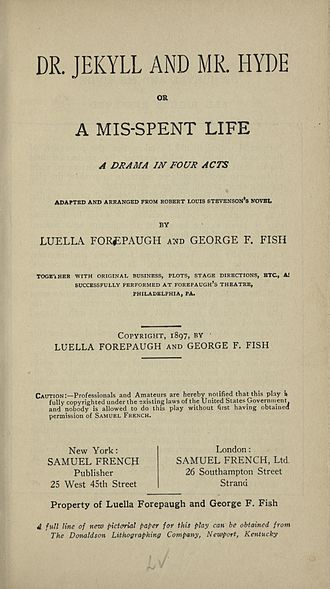 Dr. Jekyll and Mr. Hyde, Or a Mis-Spent Life - Title page for published play