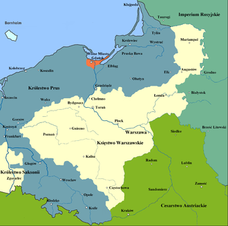Duchy of Warsaw - Map of the Duchy of Warsaw 1807–1809