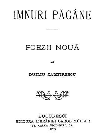 Duiliu Zamfirescu - First page of Imnuri păgâne, poezii nouă, 1897