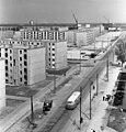 Dunaújváros, Dózsa György út a főiskolai kollégium tetejéről a Vasmű út felé nézve. Fortepan 22002.jpg