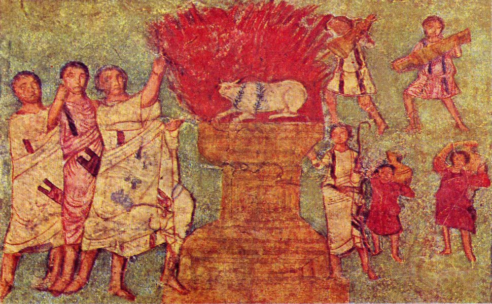 Dura Europos fresco worshipping gold calf