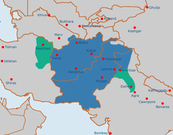 The Durrani Empire at its maximum extent under Ahmad Shah Durrani.[1]