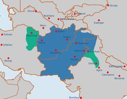 The Durrani Empire at its maximum extent under Ahmad Shah Durrani, late 1750s