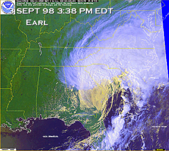 Hurricane Earl (1998) - The extratropical remnants of Earl over the Southeast