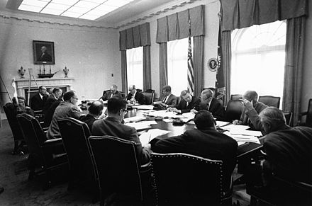 October 29, 1962 EXCOMM meeting held in the White House Cabinet Room. President Kennedy, Robert McNamara and Dean Rusk. EXCOMM meeting, Cuban Missile Crisis, 29 October 1962.jpg