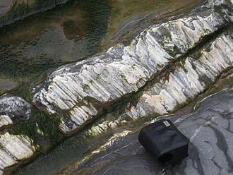 Striation (geology) - Striations (slickenfibres) on a fault surface near Kilve, England