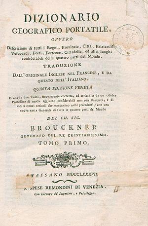 Laurence Echard - Dizionario geografico portatile, 1787 (in Italian)