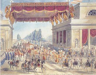Porta Venezia - A watercolor painting by Eduard Gurk, entitled Darbringung der Stadtschlüssel an I.I.M.M. durch den Podestà von Mailand an der Porta Orientale (1838)