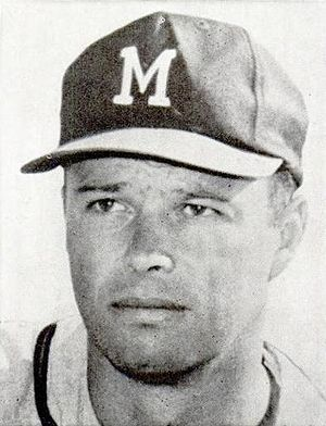 1959 National League tie-breaker series - Eddie Mathews scored the first run of the game and later hit his league-leading 46th home run, but his Braves ultimately lost the game and the pennant 6–5 in extra innings.