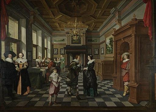 Een interieur. Onderdeel van een zevendelig kamerbeschildering. Rijksmuseum SK-A-3938