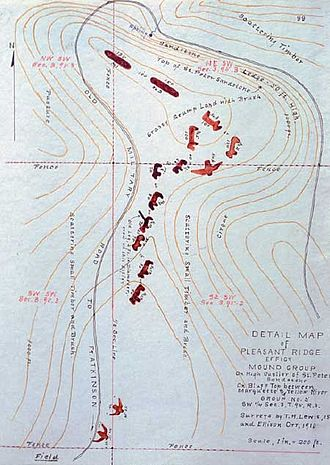 Archaeology of Iowa - Ellison Orr's and Theodore Lewis' 1910 sketch of effigy mounds near McGregor, Iowa, now part of Effigy Mounds National Monument.