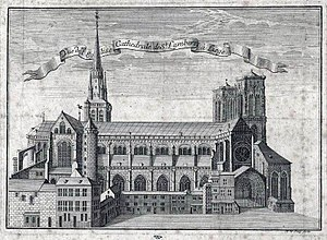 Saint Lambert's Cathedral, Liège - Engraving of St. Lambert's Cathedral
