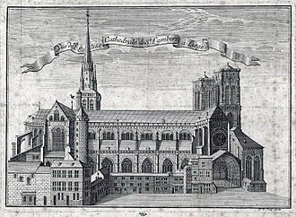 Saint Lambert's Cathedral, Liège - Engraving of St. Lambert's Cathedral by Remacle Le Loup (1735)