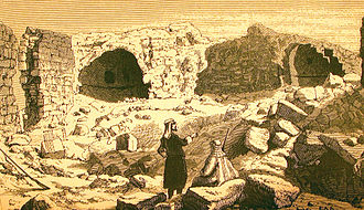 Edward Henry Palmer - A church ruin in El'Aujeh (present day Nitzana) in the Negev Desert as illustrated by Palmer (1872) in his The Desert of the Exodus.