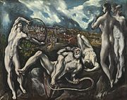 El Greco was inspired in his Laocoon (1608–1614, oil on canvas, 142 x 193 cm, National Gallery of Art, Washington) by the famous myth of the Trojan cycle. Laocoon was a Trojan priest who tried to have the Trojan horse destroyed, but was killed by sea-serpents.