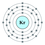 Electron shells of krypton (2, 8, 18, 8)