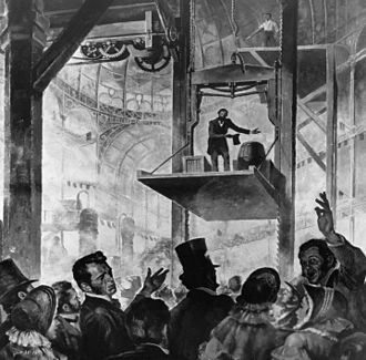 Elevator - Elisha Otis demonstrating his safety system, Crystal Palace, 1854