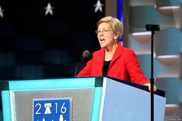 US Senator Elizabeth Warren (D-MA) addresses the 2016 Democratic National Convention (public domain, Wikimedia commons)