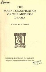 Emma Goldman: The Social Significance of the Modern Drama
