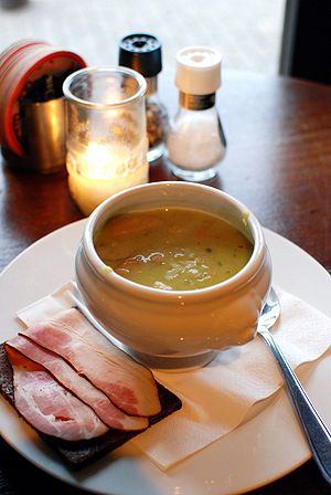 Pea soup - Dutch pea soup served with rye bread and smoked bacon (katenspek)