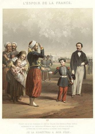 Jules David - The Hope of France - Napoléon, Prince Imperial (1856–1879) accepting a petition from a Zouave