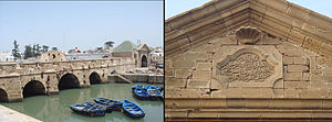Ahmed el Inglizi - The harbour fortifications in Essaouira were partly built by Ahmed El Alj, also known as Ahmed el Inglizi, in 1770, as described in the sculptured inscription in Arabic (right).