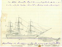 Nickerson's sketch of the Essex being struck by a whale
