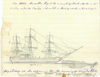 Thomas Nickerson - Sketch of Essex being struck by a whale on 20 November 1820; Sketched later in life by Thomas Nickerson