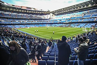 Santiago Bernabéu Stadium - View of the stadium from the southwest stand corner, March 2016