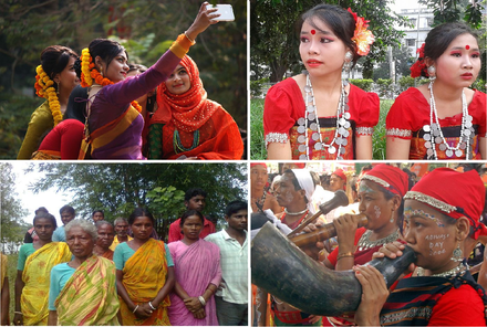 Montage of some ethnic groups in Bangladesh. Clockwise from top left: Bengalis, Chakmas, Garos, Santhals Ethnic groups of Bangladesh.png