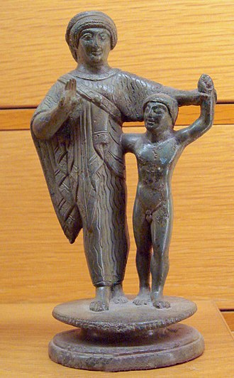 Etruscan society - Etruscan mother and child, 500–450 BC