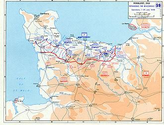Beachhead - Map of the Normandy beachhead, 1944.