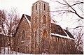 Exterior of St. Mark's Anglican Church, Dundas Street, Deseronto, Ontario, taken on the day of its deconsecration, December 2001. (3684079187).jpg