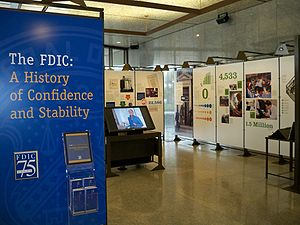 FDIC history exhibit in the lobby of the headq...