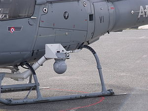 Forward looking infrared - A FLIR pod on a French Air Force helicopter