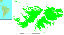 Location of West Point Island within the Falkland Islands