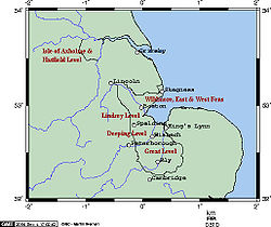 Map of eastern England, showing position of the Fens.[1]