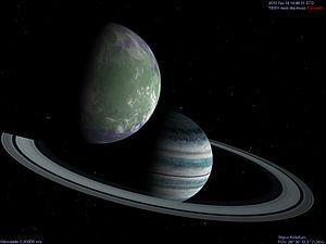 English: A fictional Earth-like extrasolar moo...